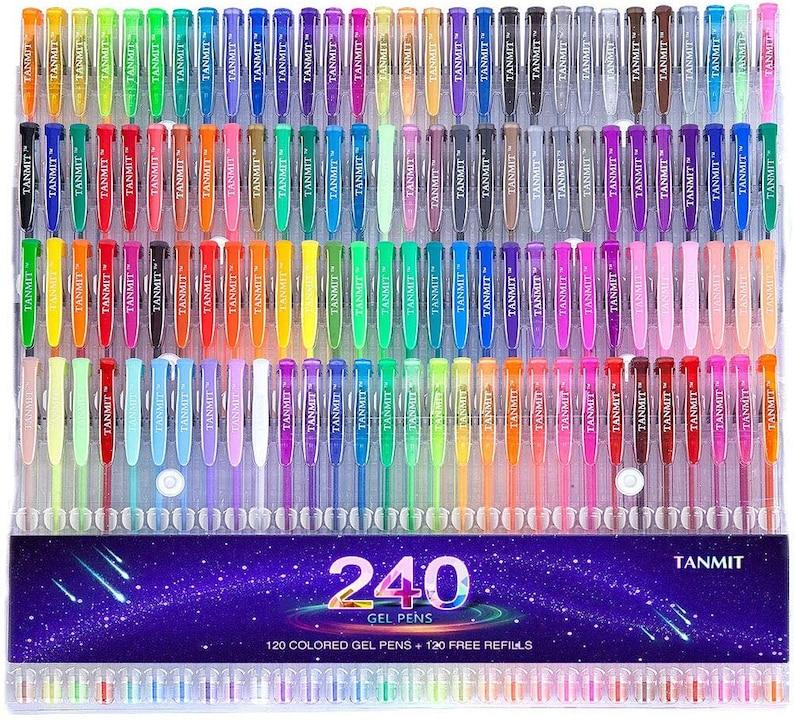 Tanmit 240 Gel Pens Set 120 Colored Gel Pen plus 120 Refills image 0