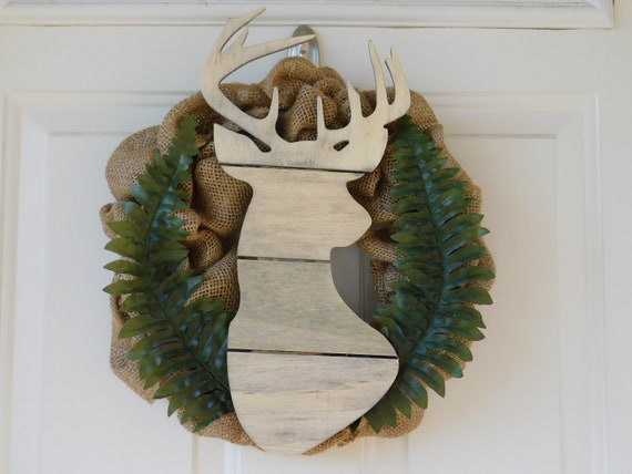 Deer wreath, boy nursery decor, woodland decor, burlap wreath