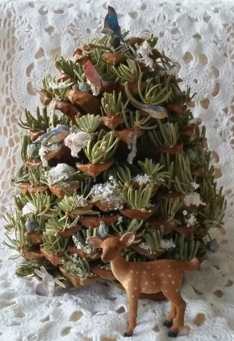 Big Bear Village Christmas.Big Bear Lake Wildlife Miniature Tree Pine Cone Tree Woodland Decor
