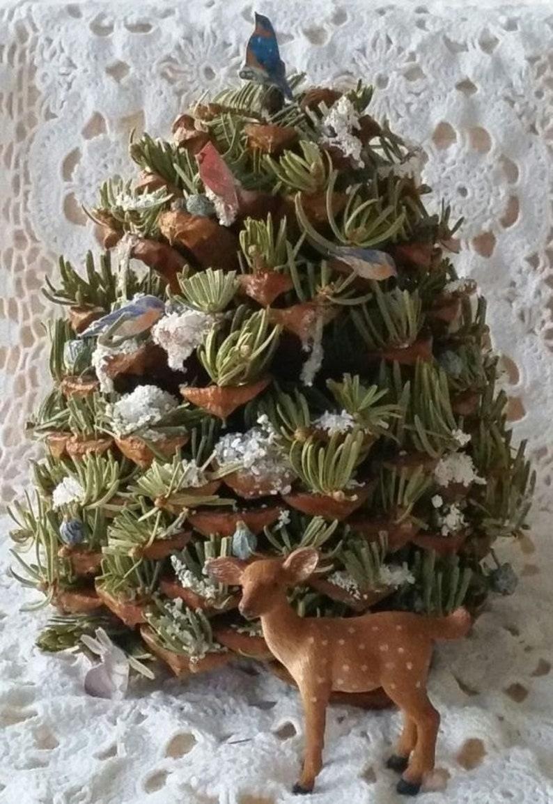 Big Bear Christmas.Big Bear Lake Wildlife Miniature Tree Pine Cone Tree Woodland Decor