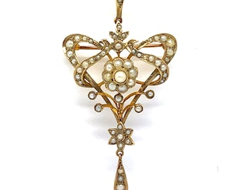 Antique Gold and Pearl Pendant/Brooch