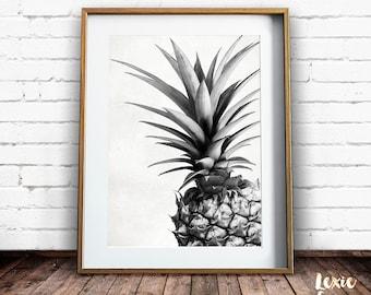 Pineapple Print, Tropical Print, Pineapple Photo, Black and White, Fruit Print, Pineapple Wall Art, Printable Wall Art, Instant Download