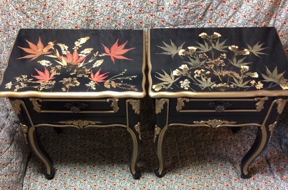 Beside tables/nightstand / Black and Gold /French Style Furniture /bedroom  furniture / dried flowers /pressed flowers / leaves / table