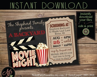 Printable Movie Night Invitation, Chalkboard Movie Night Party Invitation, Movie Night Invite, Instant Download Edit File w/ Adobe Reader