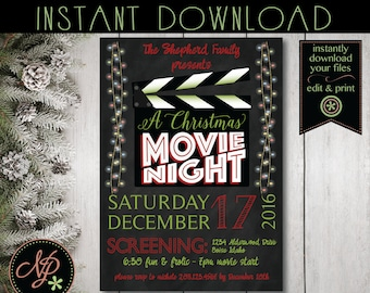 Printable Christmas Movie Night Invitation | Chalkboard Movie Night Party Invite | Holiday Movie Party Invite | Instant Download Edit File