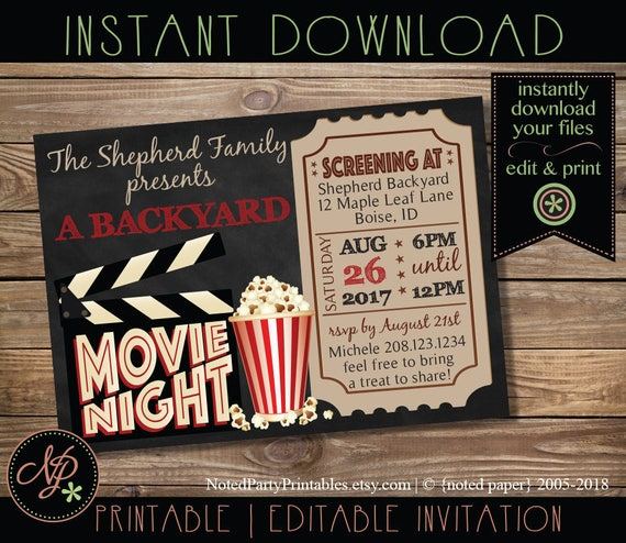 Printable Movie Night Invitation Chalkboard Movie Night Party Etsy