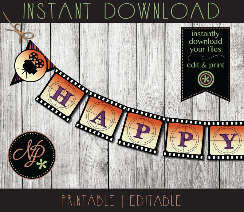Halloween Birthday Theme Banner | Halloween Movie Night Party | Halloween  Party Decorations | Movie Theme Banner | Instant Download pdf