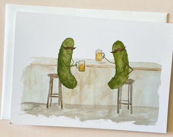 Whimsical Pickles with Mustaches having a Beer in the Pub Watercolor Blank Greeting Card