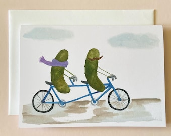 Whimsical Pickles on a Bicycle Built for Two Watercolor Wedding Love Engagement Blank Greeting Card
