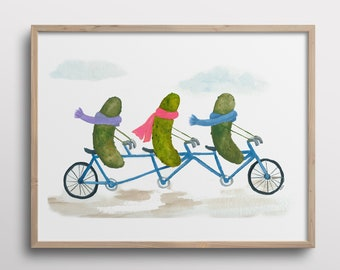 Whimsical Pickles on a Bicycle Built for Three Watercolor Art Print