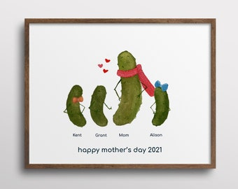 Whimsical Pickle Mother's Day Personalized Family Watercolor Art Print