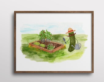 Whimsical Pickle with a Mustache Gardening in a Raised Bed Garden Watercolor Art Print