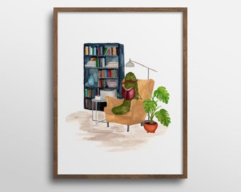 Whimsical Pickle Reading a Book in Library Book Nook Watercolor Art Print