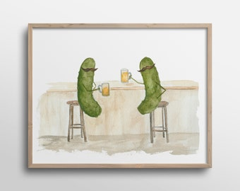 Whimsical Pickles with Mustaches having a Beer in the Pub Watercolor Art Print