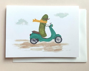 Whimsical Pickle Riding a Vespa Scooter Blank Greeting Card