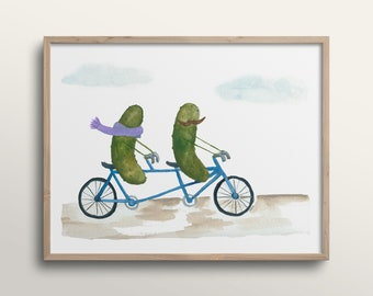 Whimsical Pickles on a Bicycle Built for Two Watercolor Art Print
