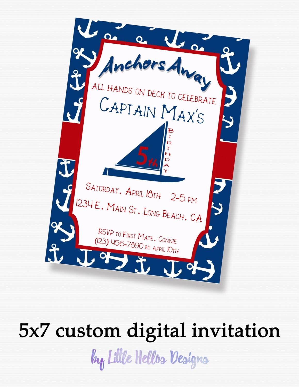 Nautical Birthday Invitation Kid Birthday Invite Anchor | Etsy