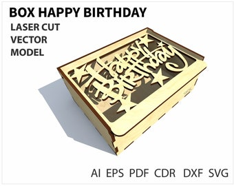 Happy Birthday Gift Box Template In SVG DXF EPS Pdf File Format Packaging Files Anniversary