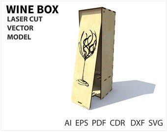 Wine Box Wood Laser Cut Project Plan Instant Download Plywood Vector Model Cnc