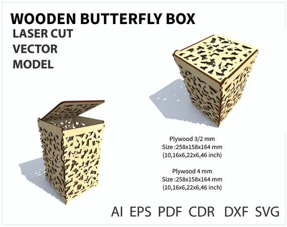 laser cut vector model cnc file vector template for laser cutting Wedding card box drawing instant download money box wedding casket