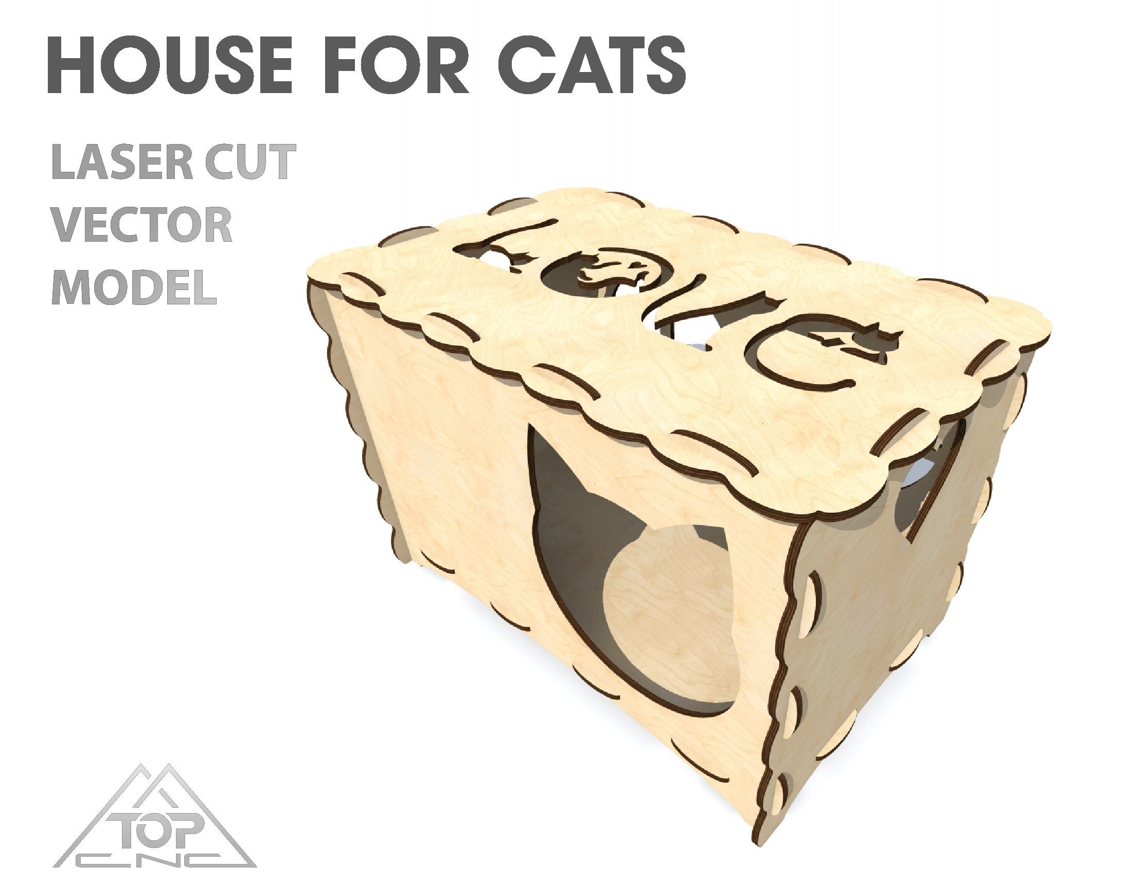 Incredible House For Cats House Plans For Cnc Router And Laser Cutting Vector Projects Cnc Patterns Plywood 6Mm Vector File For Laser Cutting Download Free Architecture Designs Scobabritishbridgeorg