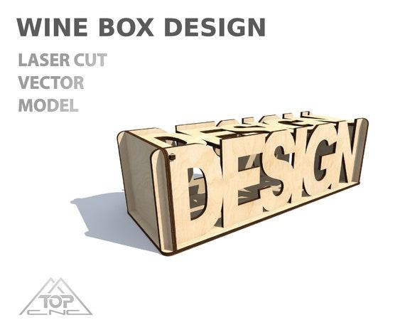 Wine box, Wood wine box  Laser cut project plan  Instant download  Plywood  wine box, Laser cut vector model, Wine box cnc model