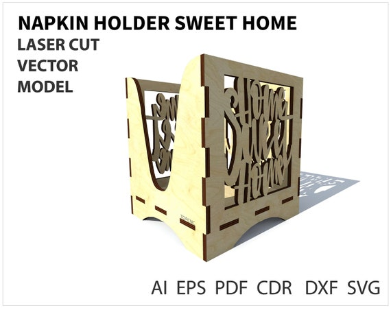 Napkin holder vector file template for laser cutting napkin etsy image 0 maxwellsz