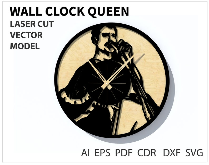 Wall Clock Queen Vector File For Laser Cutting Cnc Wooden Designer Dxf Vector Plan Instant Download Vector Model Cdr Eps Dxf Files