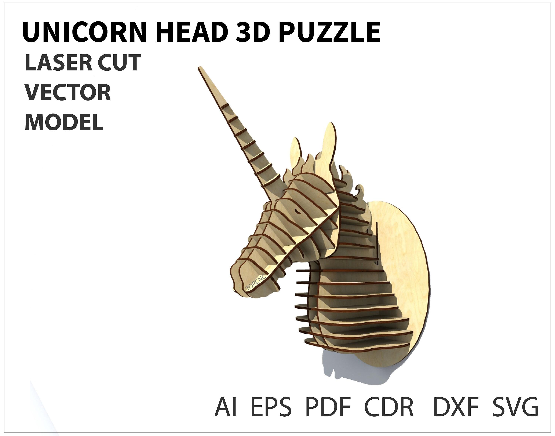 Einhorn Kopf 3D Holzpuzzle. Kopf Trophy. Einhorn Kopf | Etsy