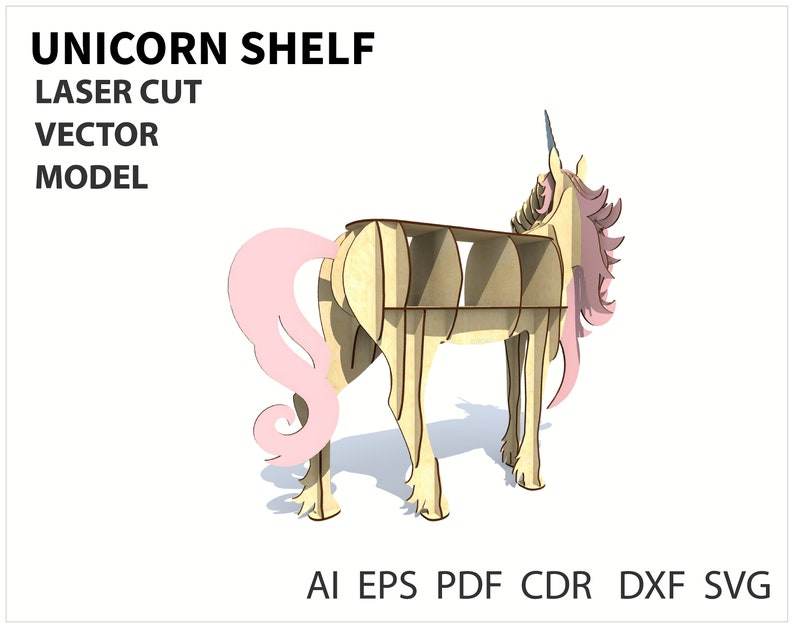 animal decor CNC files Wood shelf Unicorn shelf decor diy shelf Vector model for cnc laser and router cutting unicorn gift