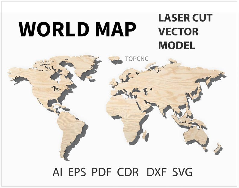 Mapa Del Mundo Archivo De Corte Láser Mapa Del Mundo Vector De Etsy