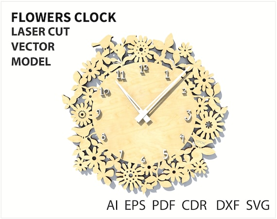 Instant download. Vector file for laser cutting CNC CDR vector plan Wooden designer Wall clock