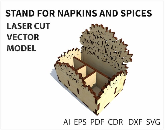 Napkin holder and spices vector file template for laser etsy image 0 maxwellsz