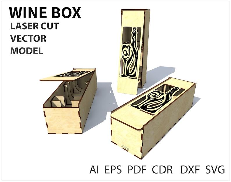 Wine box, Wood wine box  Laser cut project plan  Instant download  Plywood  wine box, Laser cut vector model, Wine box cnc model  Cnc file