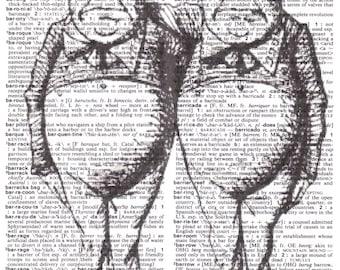 Dictionary Art Upcycle Classic Alice in Wonderland Tweedledum & Tweedledee