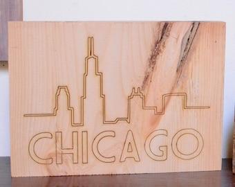 Chicago Skyline Lasercut Wood Sign