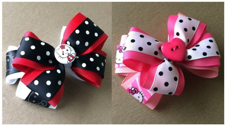 330588021 Large Stacked Hello Kitty Hair Bow / Red Hello Kitty Bow / | Etsy