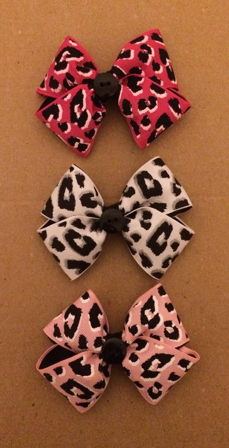 1655e9a605b Colorful Leopard Print Large Hair Bow   Black Leopard Print