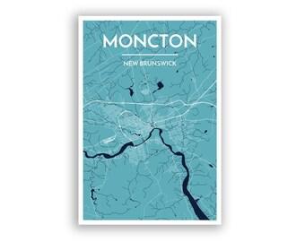 Moncton Map Etsy