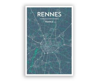 Map Of France Rennes.Rennes France Map Etsy