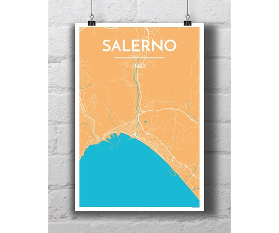 Salerno Italy City Map Print Etsy