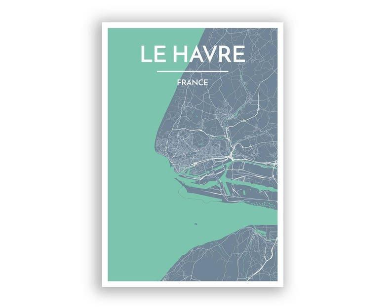Le Havre France City Map Print Modern Minimalist Art Etsy