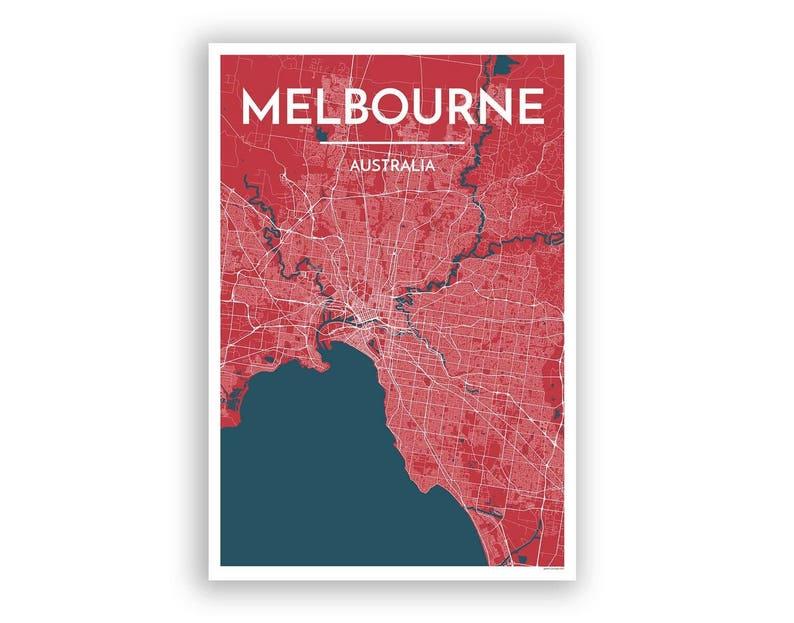 Melbourne Australia City Map.Melbourne Australia City Map Print Modern Minimalist Art Etsy