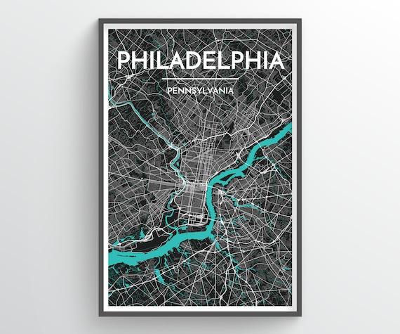 PHILADELPHIA, United States, City Map Print // modern minimalist art design  home office decor, map art, city map poster, custom city print