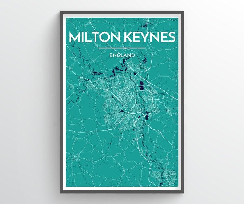 Map Of England Milton.Milton Keynes England City Map Print Modern Minimalist Art Design Home Office Decor Map Art City Map Poster Any Custom City Print