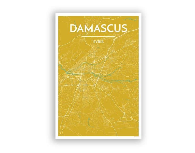 DAMASCUS Syria City Map Print // modern minimalist art | Etsy