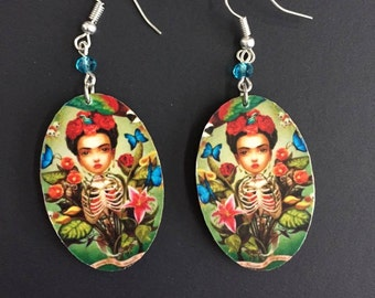 Young Frida Handmade Wooden Frida-Inspired Earrings from Oaxaca, Mexico