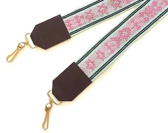 handmade in Oaxaca Handwoven cotton and leather camera neckstrap Mexico