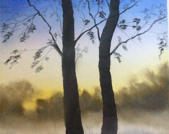 Early morning mist pastel painting