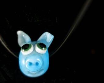 Borosilicate Lampwork Blue Piggie Focal Bead